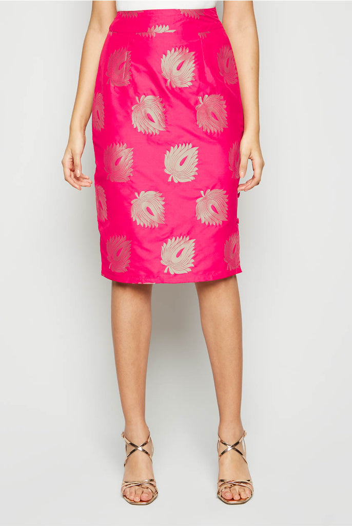 Pencil Fit Sheath Midi Skirt From Nesavaali London