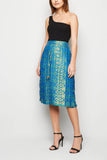 Rich Shiny Occasion Brocade Pleated Midi Skirt From Nesavaali London