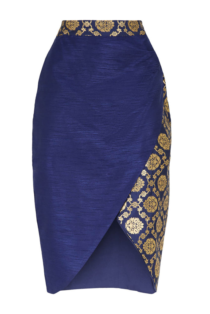 Tulip Wrap Midi Skirt Navy From Nesavaali London