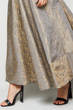 Maxi Gathered Silver Gold Skirt From Nesavaali London