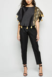 Poncho Tassel Brocade Top Black From Nesavaali London