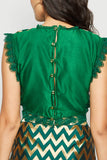 Crop Brocade Lace Blouse Green From Nesavaali London