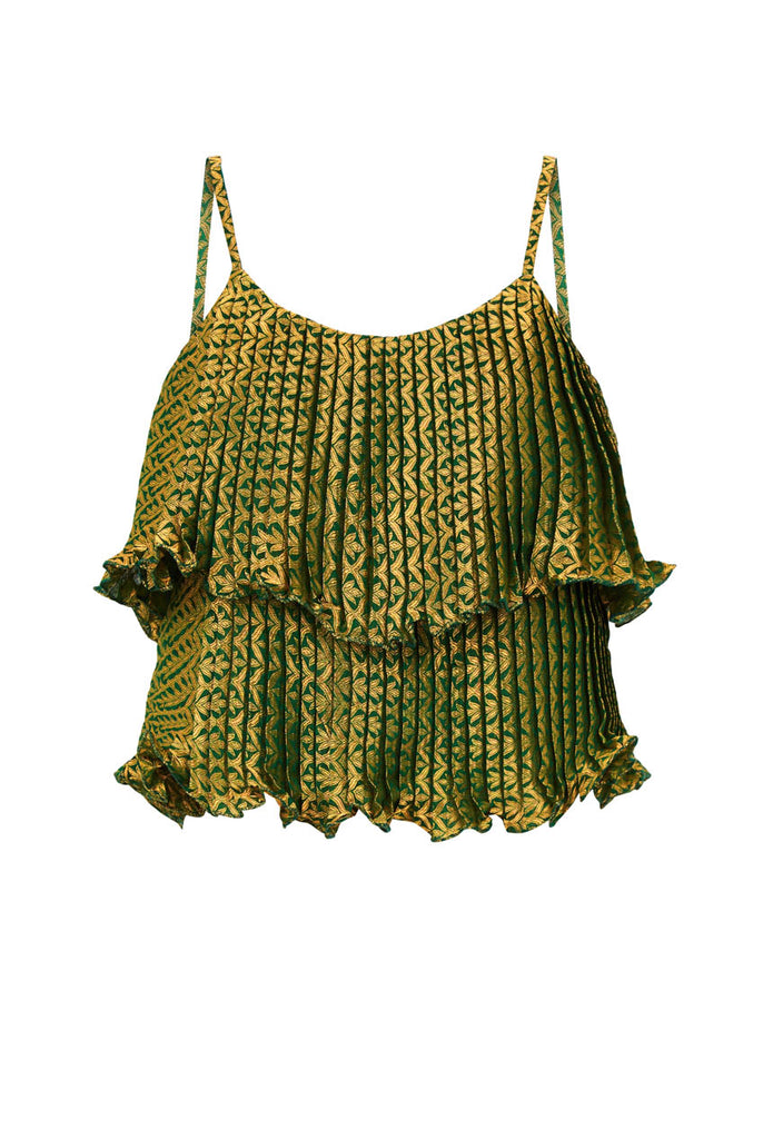 Party Pleated Brocade Cami Top Emerald From Nesavaali London