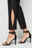 Cropped Slim Pants Black With Side Piping & Cut Open From Nesavaali London