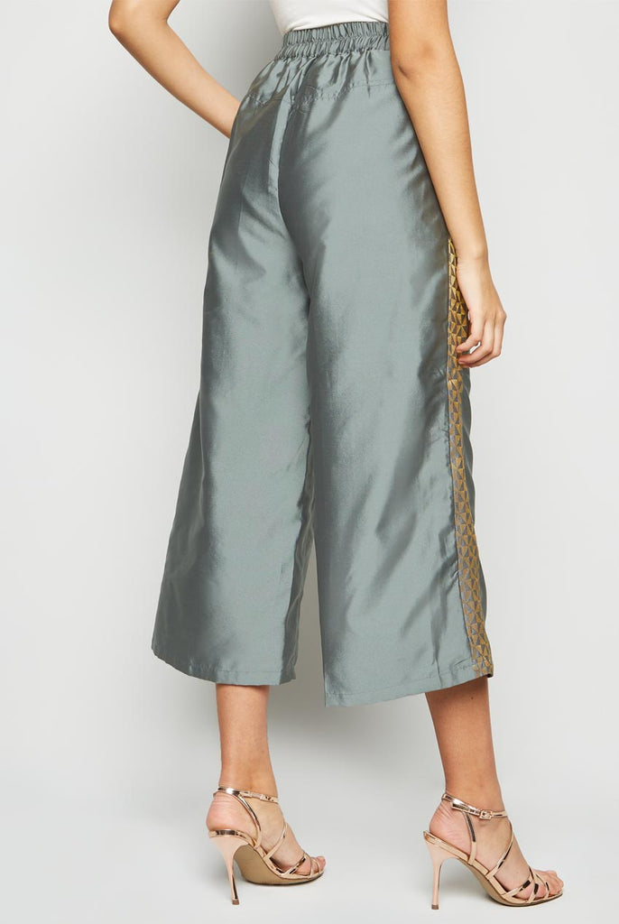 Side Brocade Panel Culotte Silver From Nesavaali London