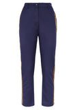 Straight Fit Navy Cropped Pants From Nesavaali London