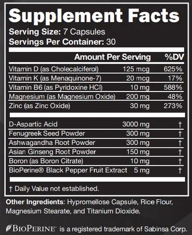 testofierce ingredient label