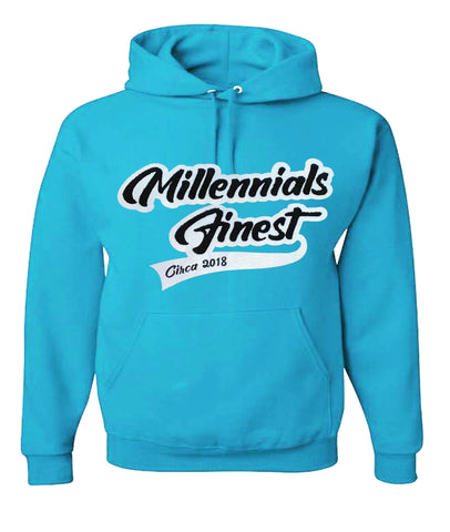 2020 Millennials Finest Patched Chenille Unisex Hoodies Cali Blue