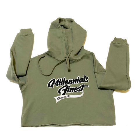 Millennials Finest Ladies Crop Top Patched Chenille Hoodies