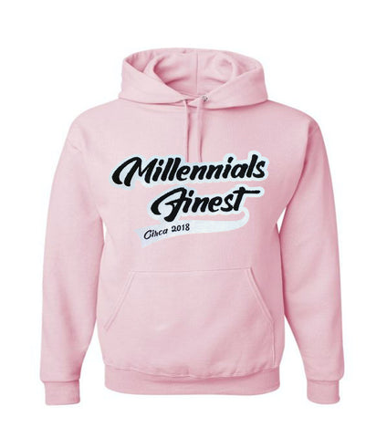 2020 Millennials Finest Patched Chenille Unisex Hoodies Pink