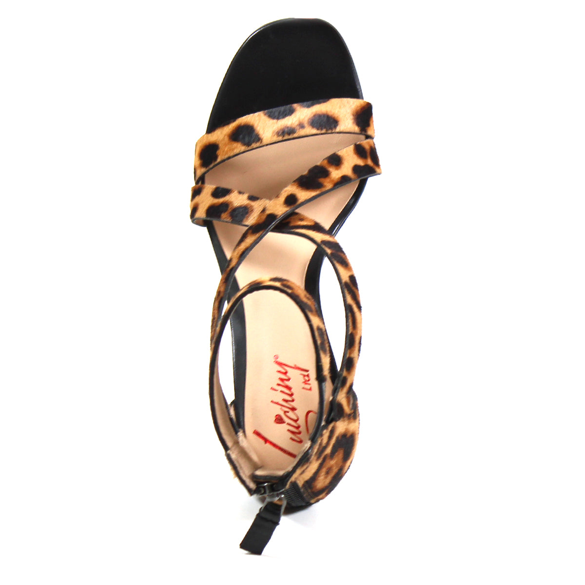 CLICK ON IT by Luichiny Ltd is a leopard print sandal accented by criss-cross straps creating a cool cut-out design that demands attention with this 3.5-inch stiletto heel. This edgy-chic and breathable sandal comes with a supple kidskin leather padded insole, counter zip, and elastic ankle strap for superior comfort and support.