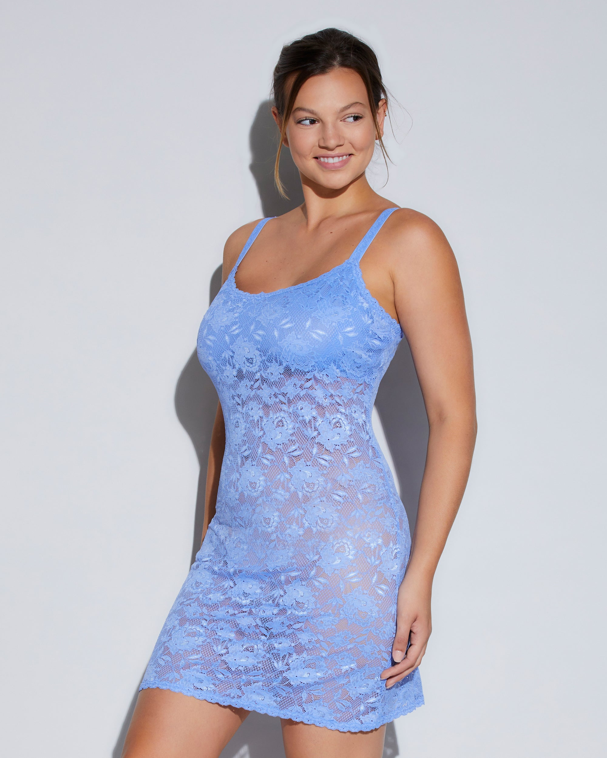 cosabella womens never say never curvy foxie chemise, blue, large, lace chemise