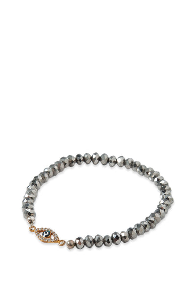 Pave Evil Eye Beaded Bracelet