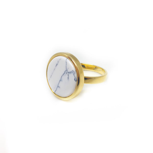 Insignia White Marble Ring