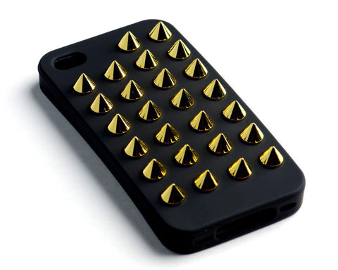 iPhone 4/4S Black Case Gold Studs