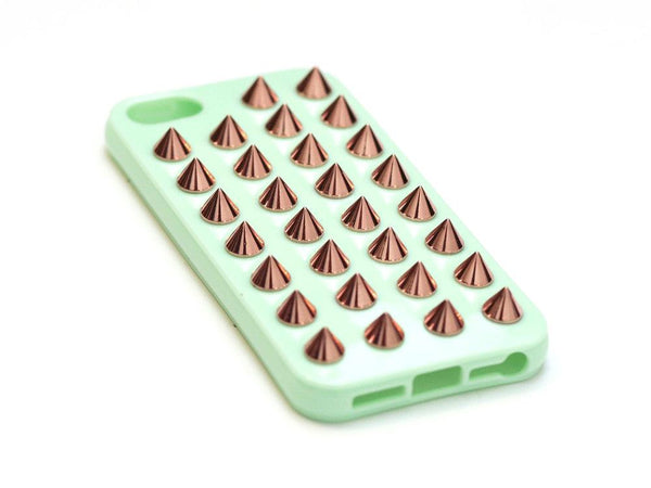 iPhone 4/4S Mint Green Case Rose Gold Studs