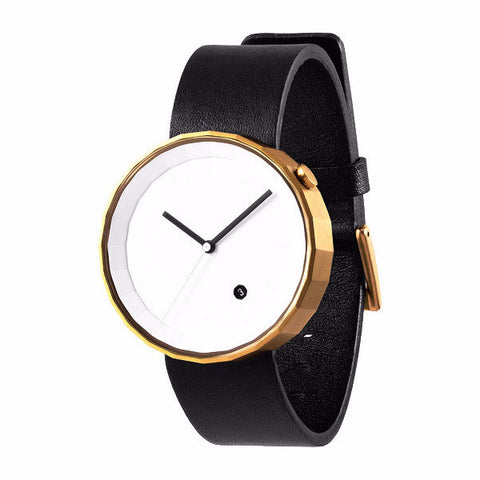 POLYGON WATCH (PVD Gold / Black Leather)