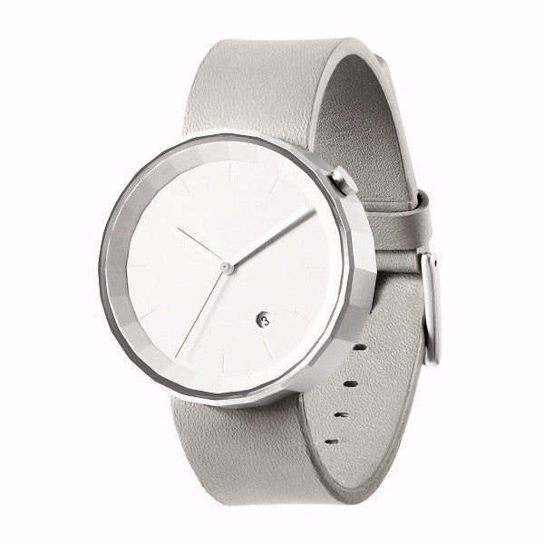 POLYGON WATCH (PVD Silver / Grey Leather)