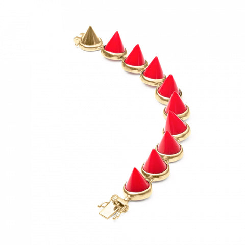 Red Coral Cone Bracelet