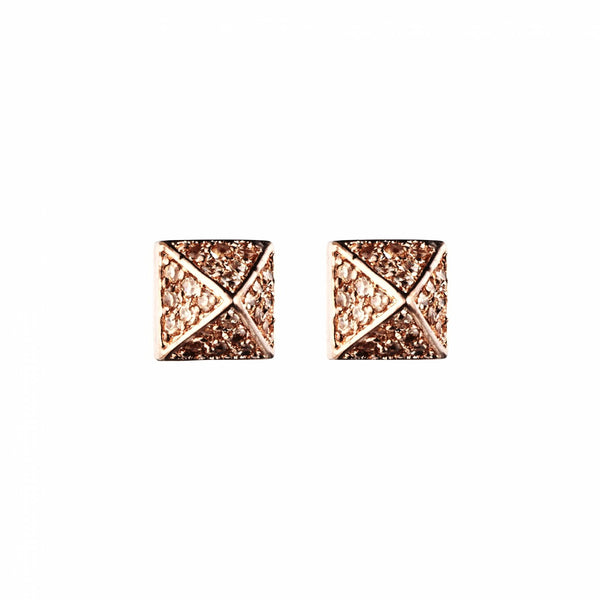Pave Small Pyramid Stud Earring