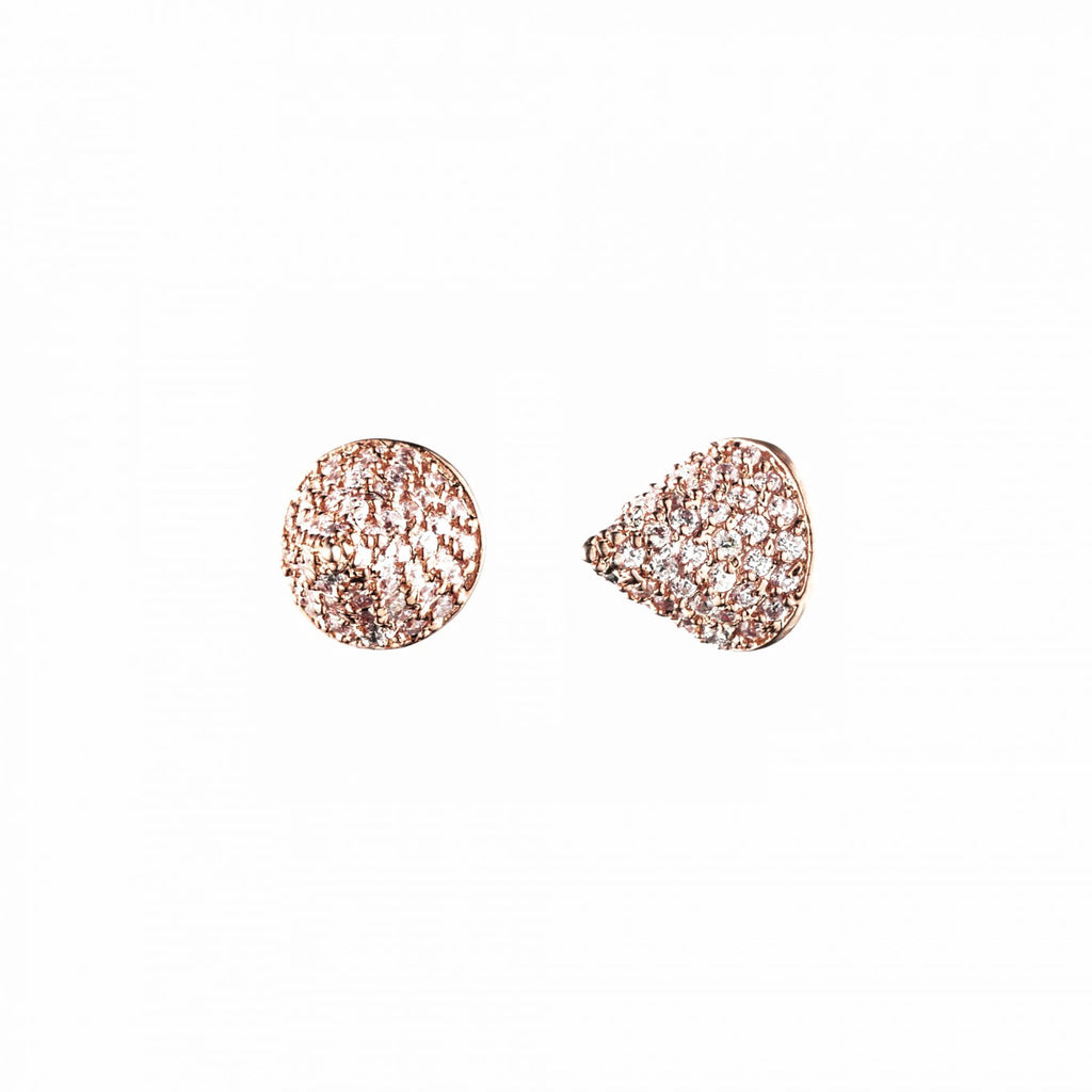 Pave Small Cone Stud Earring Rose Gold