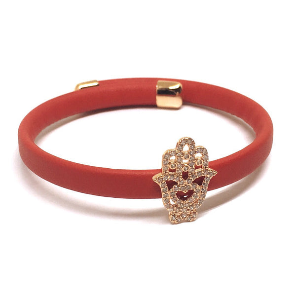 Hamsa Leather Bracelet