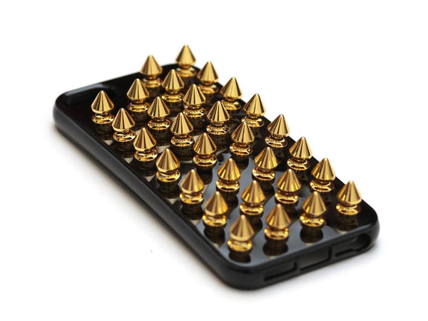 iPhone 5 Black Case Gold Spikes