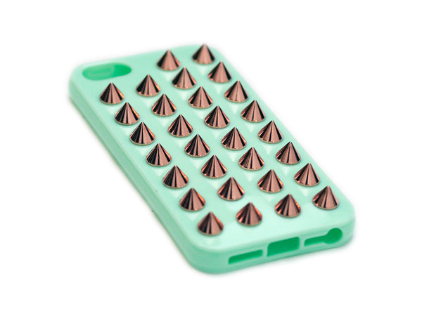 iPhone 5 Mint Green Case Rose Gold Studs