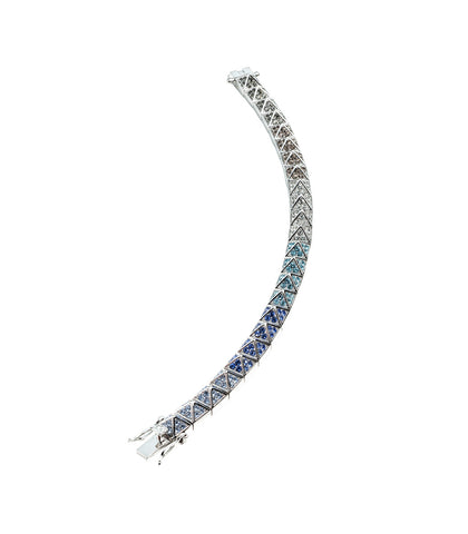 Pave Ombre Silver Small Pyramid Bracelet