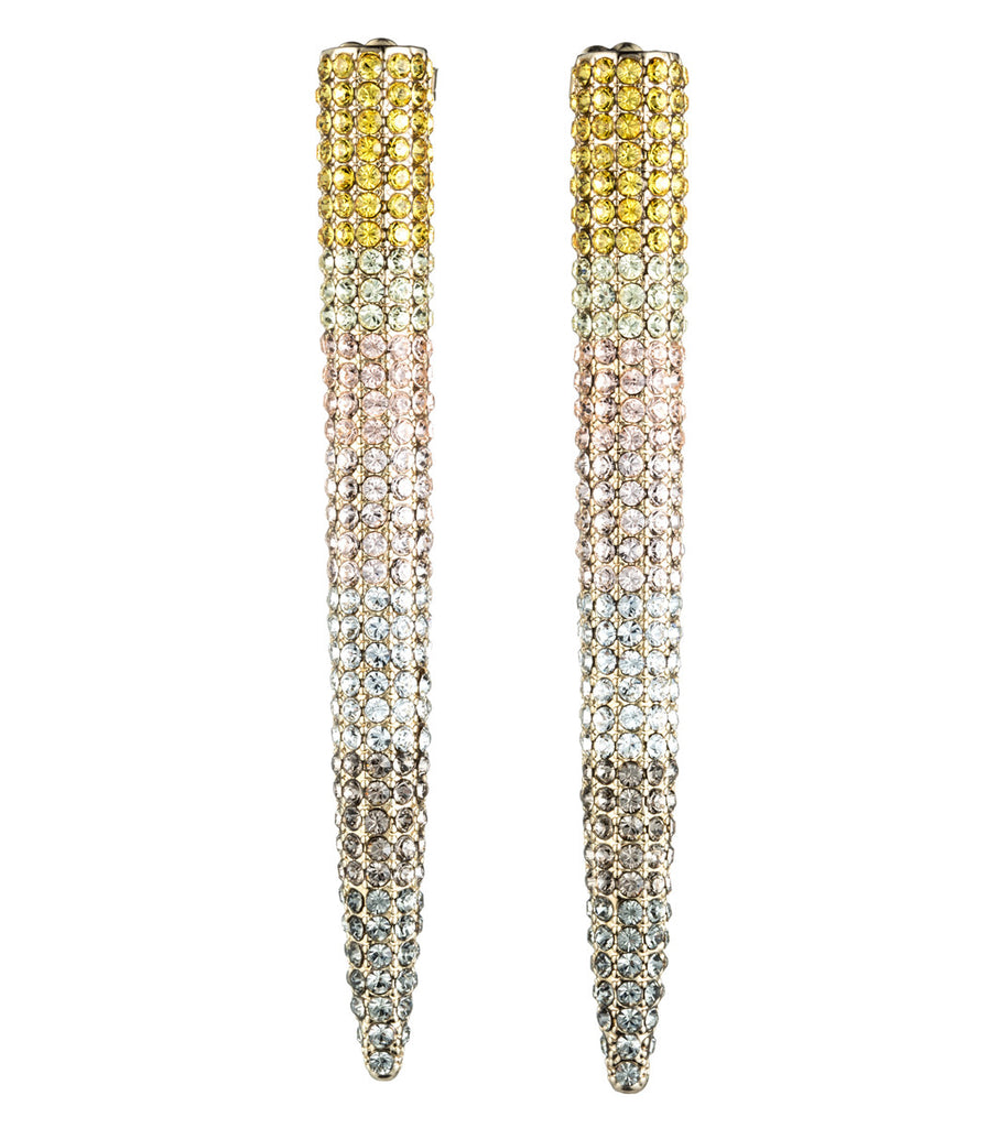 Pave Ombre Gold Striped Long Spike Stud
