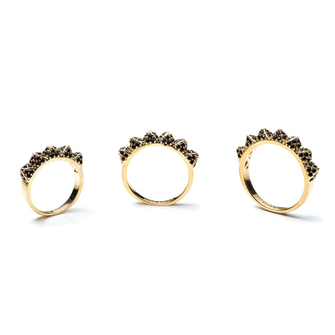 Pave Pyramid Band Ring Set