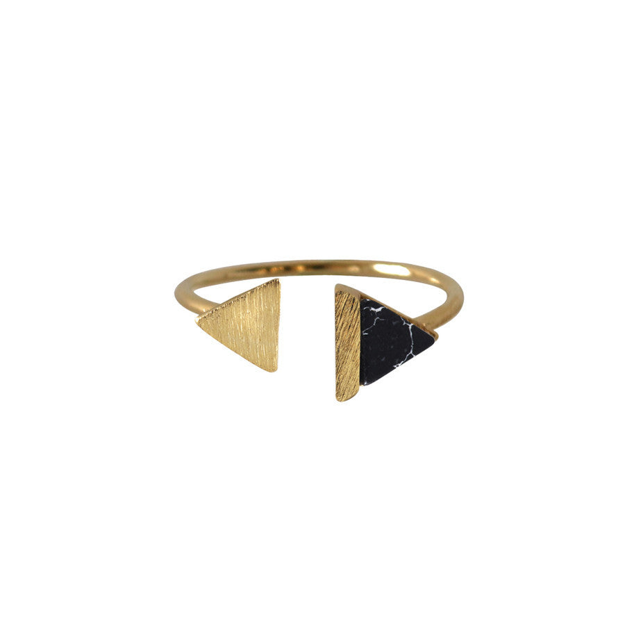 Double-Tri Split Gold & Onyx Ring