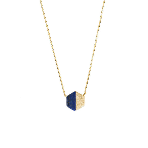 Hexagon Gold & Lapis Necklace