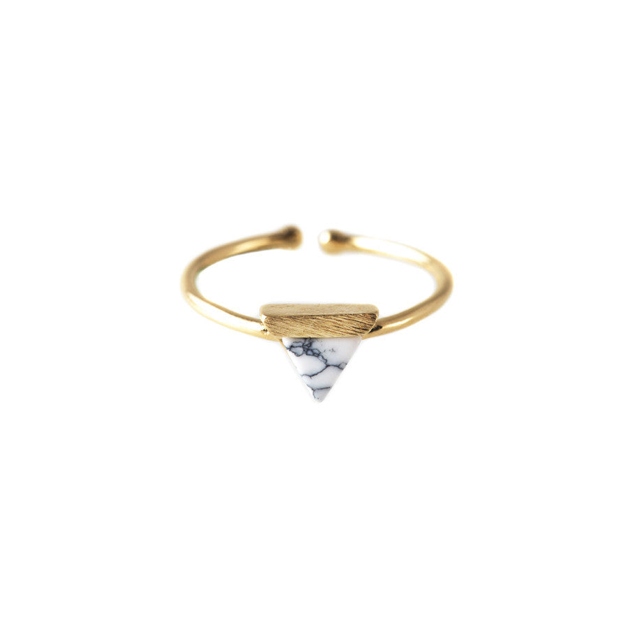Tri Gold & Marble Ring