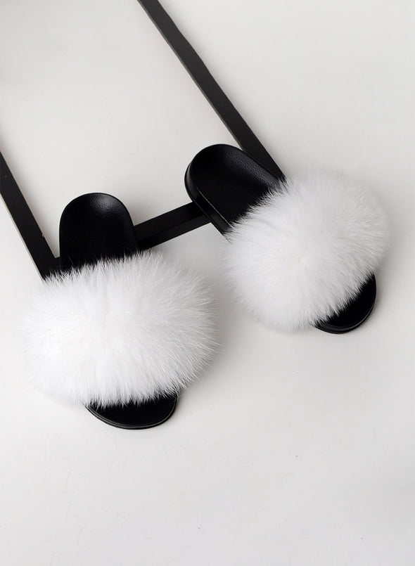 White Furry Soft Indoor or Outdoor Slippers LC12046-1