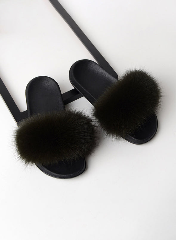 Black Furry Soft Indoor or Outdoor Slippers LC12046-2