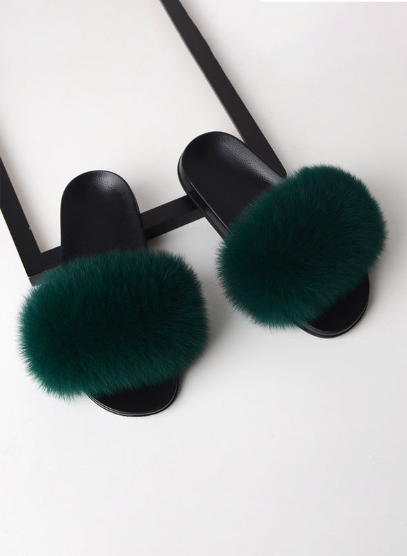 Green Furry Soft Indoor or Outdoor Slippers LC12046-9