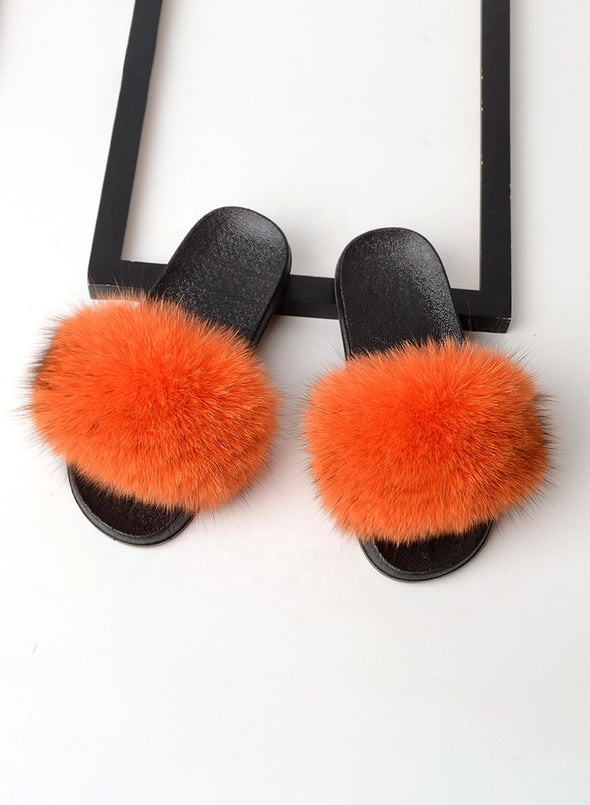 Orange Furry Soft Indoor or Outdoor Slippers LC12046-14