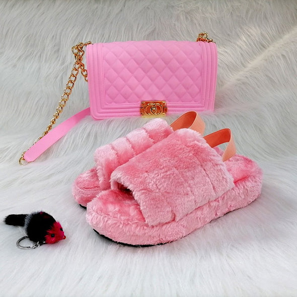 Women's Fox Fur Slides Large size Ladies Slippers & Bags