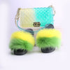 Rainbow Fur Slides with Matching Shoulder Bag Set