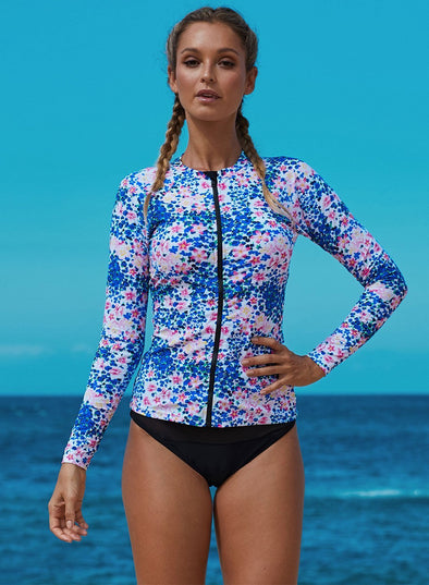 Blue Little Flower Zipped Rashguard Top