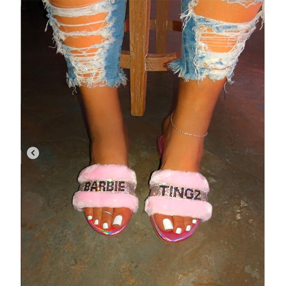 Fashion Women Slippers Furry Fox Fur Slides Home Color Fur Flip Flops Fluffy Plush House Shoes Female Cute Winter Warm Slippers
