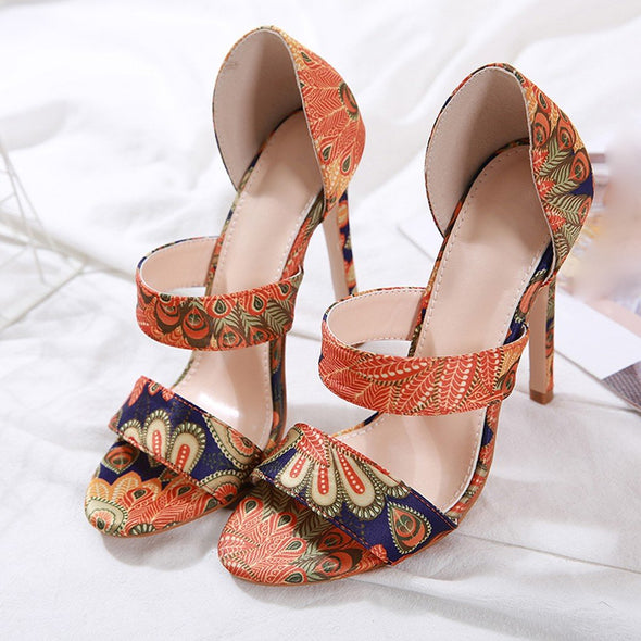 Peacock Print Elegant High Heel