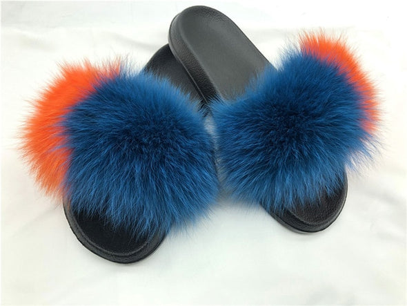 Ladies Summer Real Fox Fur Slippers Furry Fur Slippers Cute Fluffy Fur Slippers Fox Fur Slides Plush Slippers Luxury Slippers