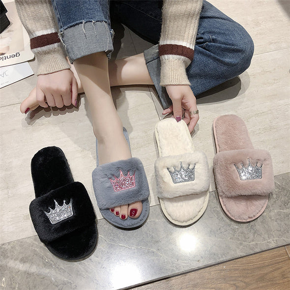 Women Fur Slippers Winter Plush Warm Flat Indoor Shoes Female Fashion Crown Pattern Home Pink Women Fluffy Slippers Slides