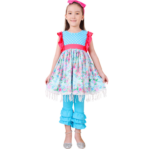 Image of Baby Toddler Little Girls Spring Easter Floral Tunic Top Capris Set - Pink Aqua (free headband)