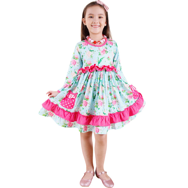 Toddler Little Girls Spring Easter Rose Floral Twirl Dress + Free hairband - Pink Mint
