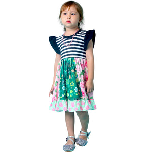 Baby Toddler Little Girl St. Patricks Day Twirl Dress Leggings Set - Black Stripes