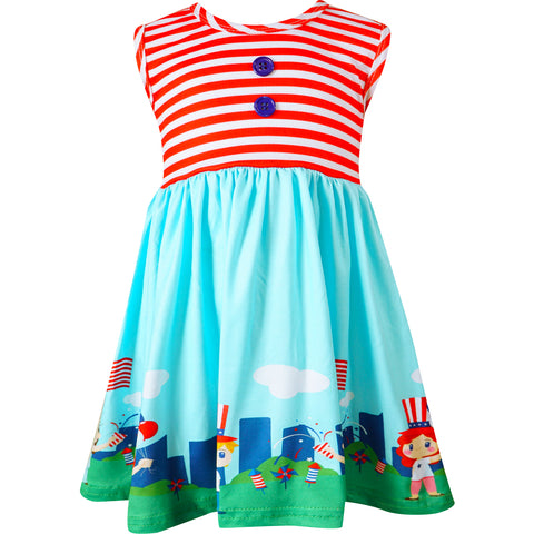 Baby Toddler Little Girls 4th of July Patriotic Dress - Red Stripes