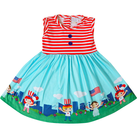 Image of Baby Toddler Little Girls 4th of July Patriotic Dress - Red Stripes